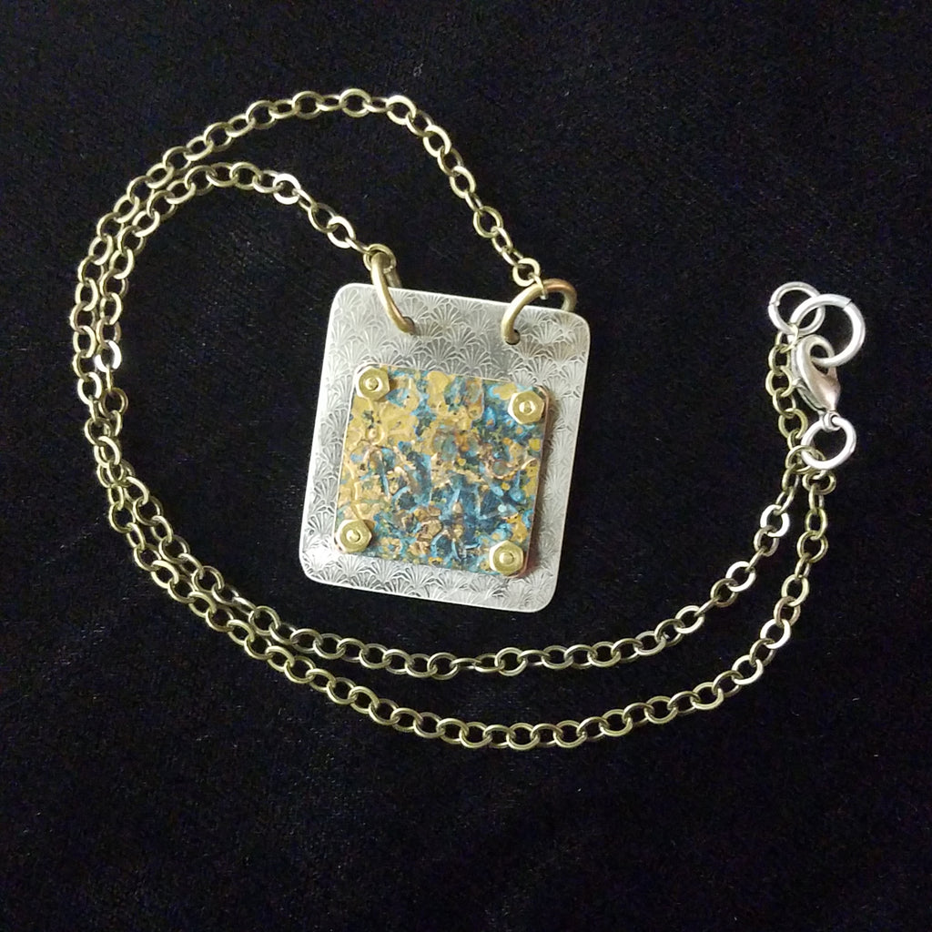 Mixed Metal Box Necklace