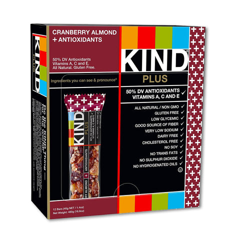 KIND Cranberry Almond Plus Antioxidants Bars - 12 Count
