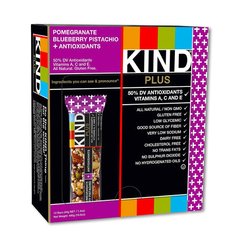 KIND Pomegranate Blueberry Pistachio Plus Antioxidants Bars - 12 Count