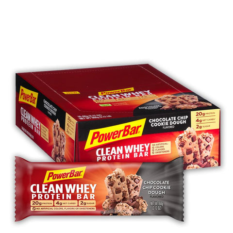 POWERBAR Chocolate Chip Cookie Dough 2.12 oz. Clean Whey Protein Bars - 16 Count