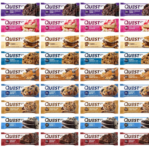 Protein Champion MEGA QUEST BAR Assortment Box of Protein Bars - 36 Count