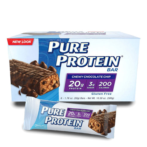 PURE PROTEIN Chewy Chocolate Chip Protein Bars - 6 Count