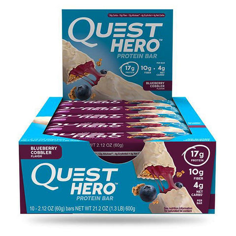 QUEST NUTRITION Hero Blueberry Cobbler Protein Bars - 10 Count