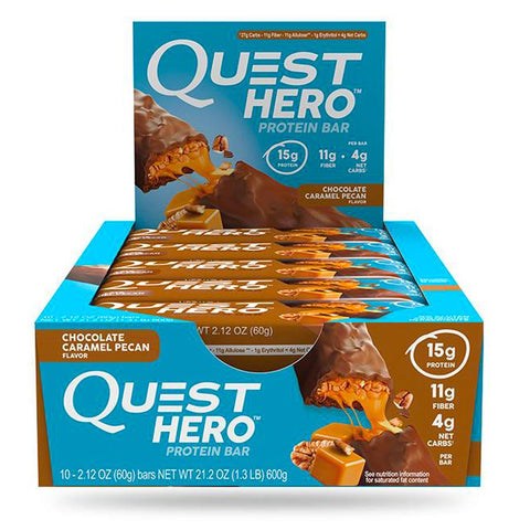 QUEST NUTRITION Hero Chocolate Caramel Pecan Protein Bars - 10 Count