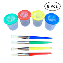 Spill Proof Paint Cups and Brushes Set