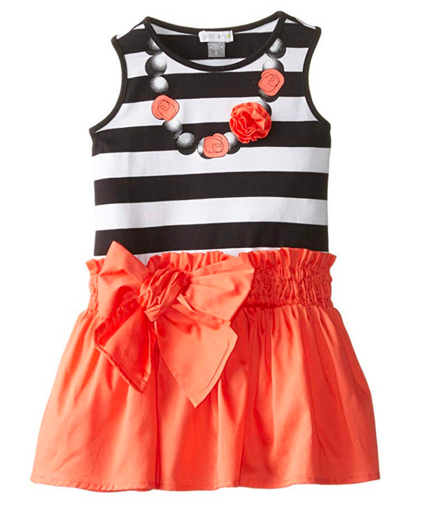 Petit Lem Little Girls' Rose Neckline Mixed Fabric Dress - Skidders.com