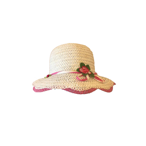 Girl Wide Brim Trilby Straw Cap Sun Hat Beach Summer Floral Sunhat 3-7 Years - Skidders.com