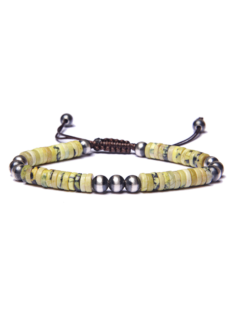 Yellow Turquoise and Sterling Silver Men's Bead Bracelet