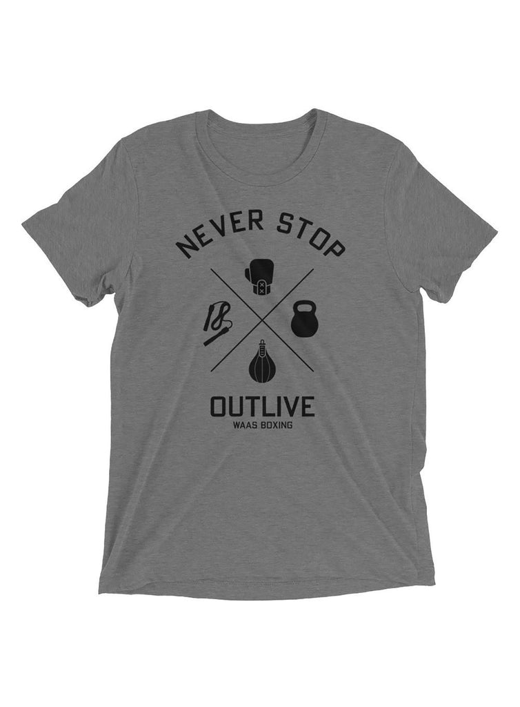 Never Stop / Outlive Gray Short sleeve t-shirt