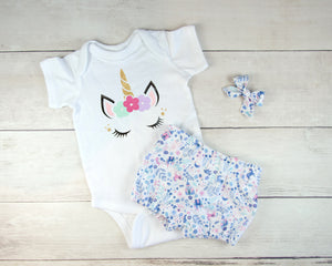 Blue and White Unicorn Baby Toddler Bloomers or Skirt Outfit