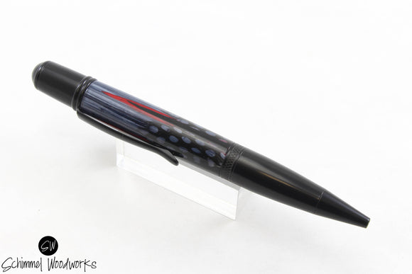 Handmade Schimmel Ballpoint Pen - Real Feathers in crystal clear resin with all black accents - Comes in gift box