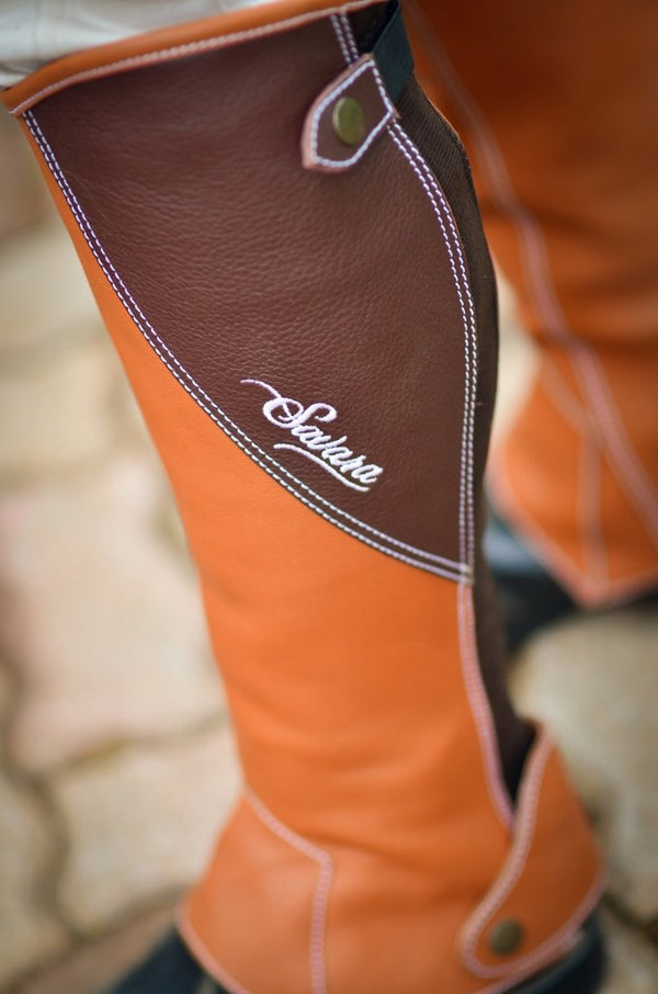Tan & Black Italian Leather Half Chaps