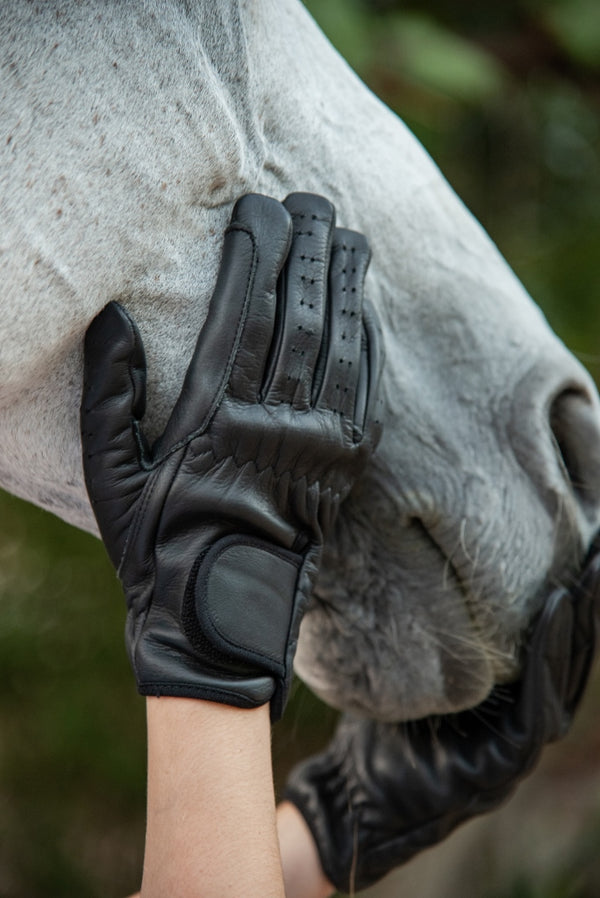 ST-GL/002 Black Leather Riding Glove