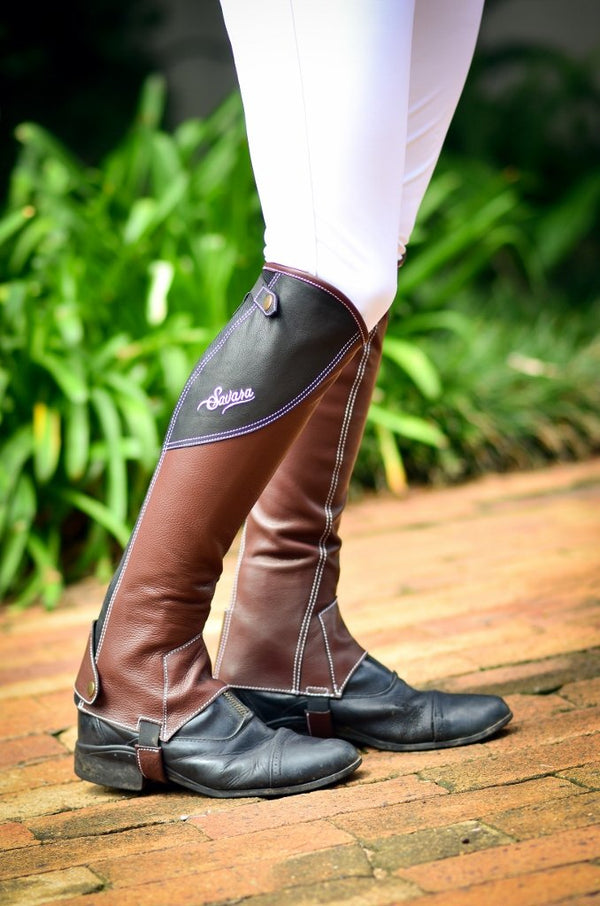 Cherry Brown & Black Italian Leather Half Chaps