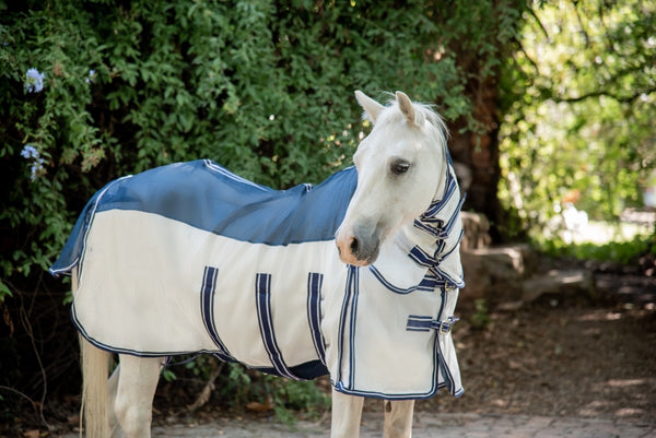 ST-FR/002 Blue & White Fly Rug with Neck Piece & Fly Mask