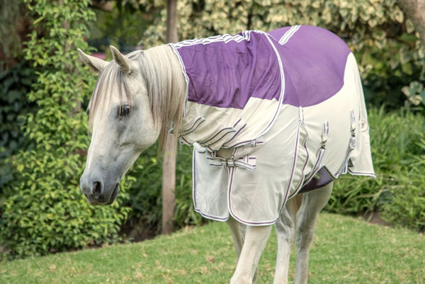 ST-FR/001 Purple & White Fly Sheet with Neck Piece & Fly Mask