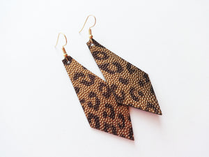 Antique Gold Leopard Diamond Vegan Leather Earring