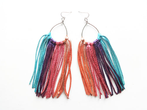 Large Rainbow Fringie Genuine Leather Earrings