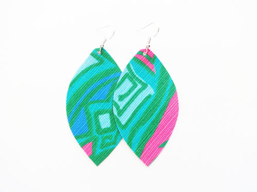 Lilly Inspired Jewel Tone Fabric Earrings