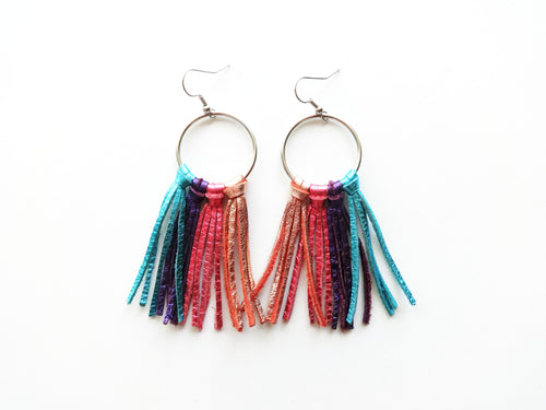Small Rainbow Fringie Genuine Leather Earrings