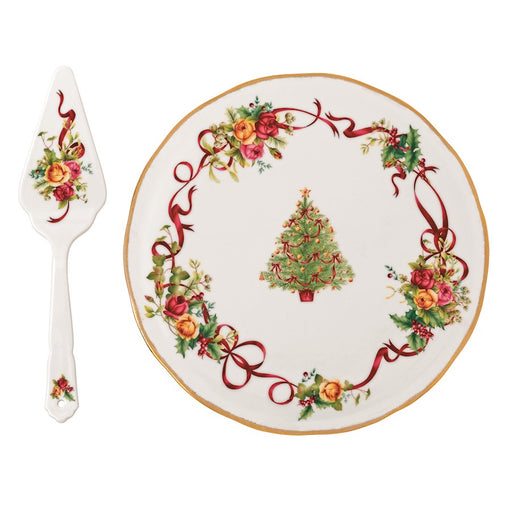 Royal Albert Old Country Roses Christmas Tree Low Cake Plate/Server