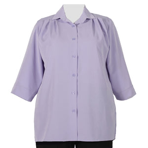 Lilac 3/4 Sleeve Tunic Women's Plus Size Blouse