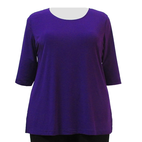 Purple 3/4 Sleeve Round Neck Pullover Top Women's Plus Size Top