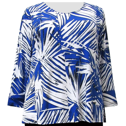 Abstract Palms Long Sleeve Round Neck Pullover Top Women's Plus Size Top