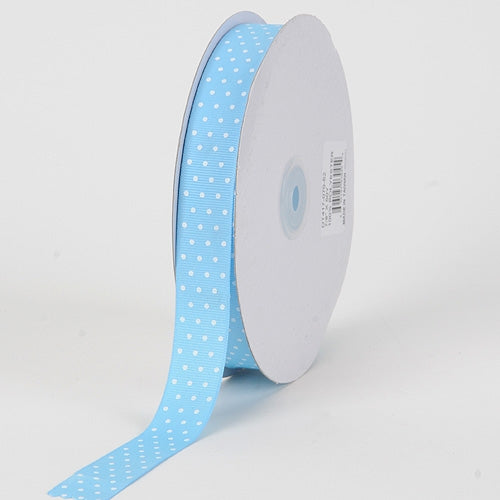 Grosgrain Ribbon Swiss Dot Baby Blue with White Dots ( 7/8 inch | 50 Yards )