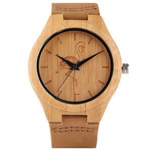 New Arrival Lovely Hand-made Men Women Quartz Watch Cat/Dog/Crane Dial Wooden Bamboo Case Genuine Leather Watchband Wood Watches