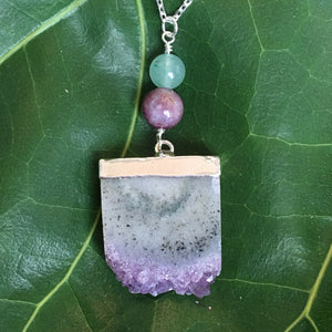 Dream Manifestation Amethyst, Pink Tourmaline and Jade Sterling Silver Adjustable Necklace