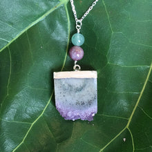 Load image into Gallery viewer, Dream Manifestation Amethyst, Pink Tourmaline and Jade Sterling Silver Adjustable Necklace