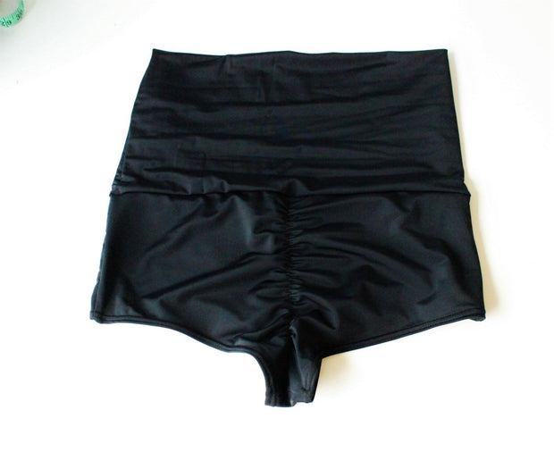 Scrunch Cheeky  Boyshort Roll Down Swim Bottoms - Origami Customs