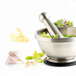 Mortar & Pestle with Rubber Base - Stainless Steel