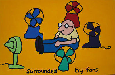 "Surrounded By Fans Acrylic On Canvas Original 30""x24"""