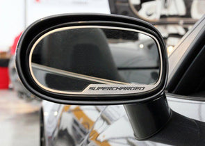 "C6 Corvette | Side View Mirror Trim | 2 pc | ""Supercharged"" Script - [Corvette Store Online]"