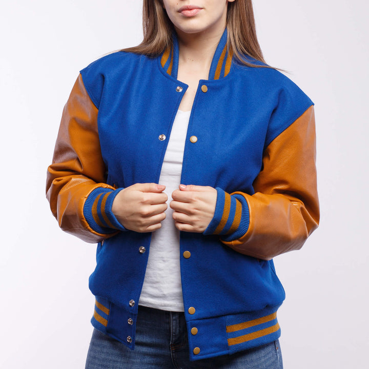 Bright Royal Blue Wool / Old Gold Leather - VarsityBase Letterman Jackets