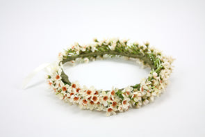 Cream and Brown Wax Flower Crown