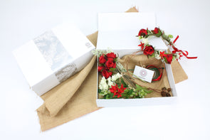 Christmas DIY Flower Crown Gift Box - Red White and Green Artificial Flowers