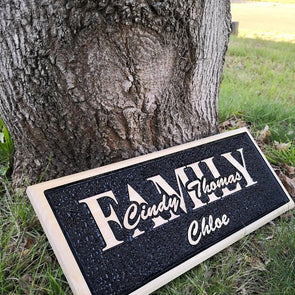 Personalised freehand carved wooden family name sign -plaque - FREE SHIPPING WITHIN AUSTRALIA