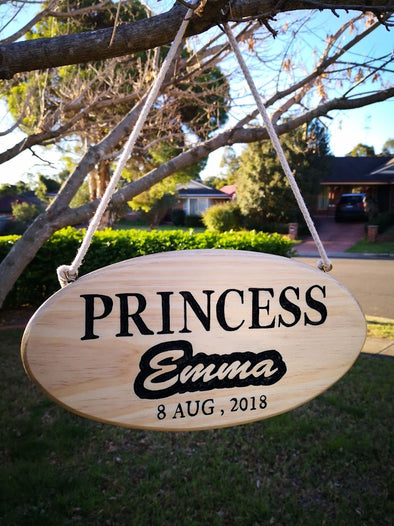 Personalised freehand carved wooden Princess name sign -plaque - FREE SHIPPING WITHIN AUSTRALIA