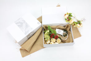 DIY Flower Crown Gift Box - Cream, Red, and Green - Artificial Flowers