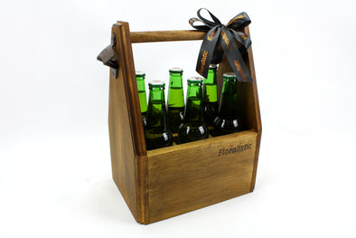 Hand made wooden personalised beer bottle caddy with opener - FREE SHIPPING WITHIN AUSTRALIA