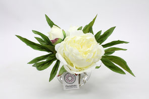 Small White Peony Silk Flower Arrangement - 2 Flowers and a Bud