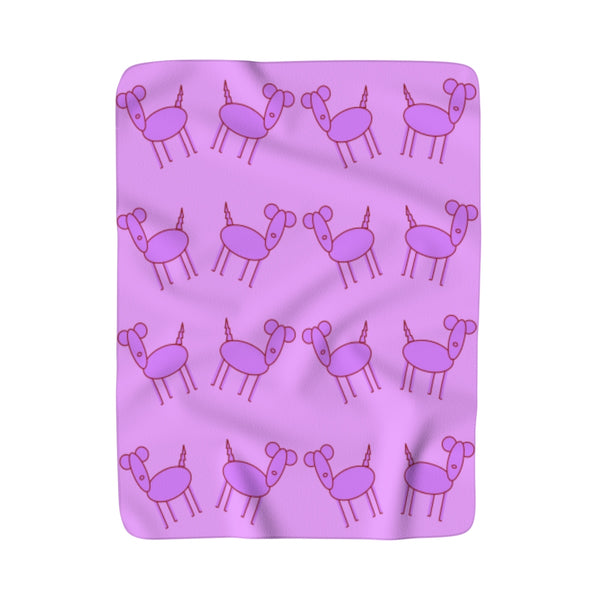 Excited Pink Pup Party Moma Sherpa Fleece Blanket