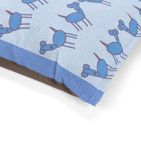 Excited Blue Pup Party Print Pet Bed