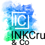 Blue and Green Watercolor Splash Art Logo with INKCru & Co written at the bottom also IC in white box in main part of INKCRU & Co Logo