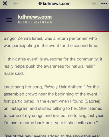Zemira Israel's 2nd time being in the Killeen Daily Herald via the Armed Forces Natural Hair & Health Expo