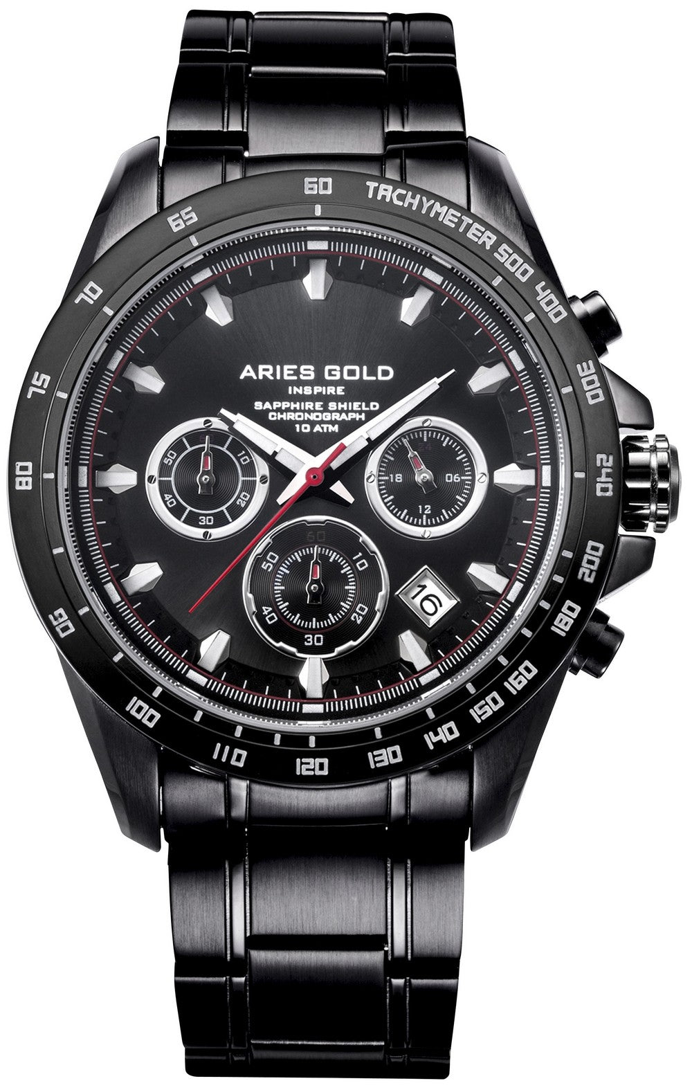 Aries Gold Inspire Drifter Chronograph Quartz G 7001 BK-BK Men's Watch, best prices, cheapest, discount, new, Cruze Watches