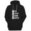 Image of Eat Sleep Game Repeat Black  Hoodie